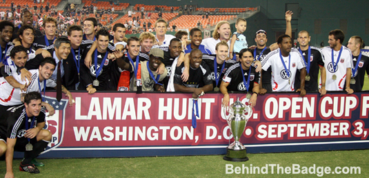 DC United celebrates their 2008 US Open Cup title. Photo: BehindTheBadge.com