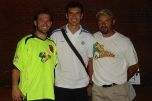 Sahuaros player Carlos Gomez (left), Mexican international Jared Borgetti and Arizona head coach Petar Draksin pose for a picture after Cruz Azul and the Sahuaros played an exhibition game in 2007.  Photo courtesy of Arizona Sahuaros.