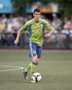 Sebastien Le Toux of the Seattle Sounders dribbles against the Portland Timbers in the Third Round.