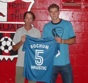 Lynch's F.C. will be without one of their bright young stars in their First Round U.S. Open Cup game against Miami F.C. But he has a good excuse. Nurdin Hrustic recently signed with Vfl Bochum of the German Bundesliga. Nurdin played club ball at Lynch's F.C. and the Jacksonville Jaguars Soccer Club and also attended Jacksonville University. Photo: Beaches Adult Soccer League