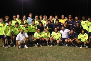 The Arizona Sahuaros pose for a team photo with Boca Juniors of Argentina as part of the 2007 Copa PanAmericana. The Sahuaros played exhibition games against Boca and Mexican clubs Cruz Azul and Club America.  Photo: Arizona Sahuaros.