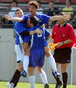 Members of Detroit United celebrate a goal during qualifying for the 2007 U.S. Open Cup.