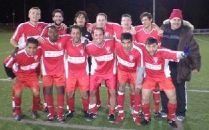 New York Salamina pose for a team photo just after defeating Polonia Centrum in the Champions League Open Cup Semifinal. Photo: New York Salamina