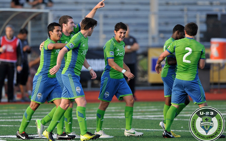 David Geno and the Seattle Sounders Under-23s celebrate one of the club's five goals in a 5-1 win over Doxa Italia in the First Round of the 2013 US Open Cup. Photo: Chris Coulter | SoundersPhotos.com