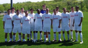 The KC Athletics pose for a team photo prior to their US Open Cup qualifying match against the Des Moines Menace USASA in Des Moines, Iowa. Photo: KC Athletics