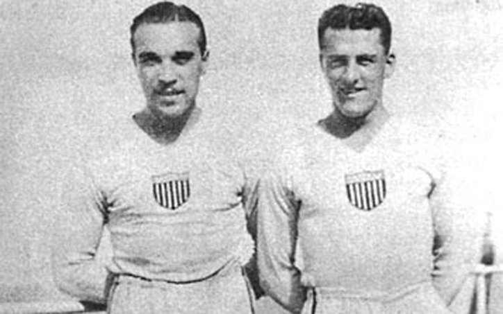 Billy Gonsalves and Bert Patenaude pose for a photo. Photo: National Soccer Hall of Fame