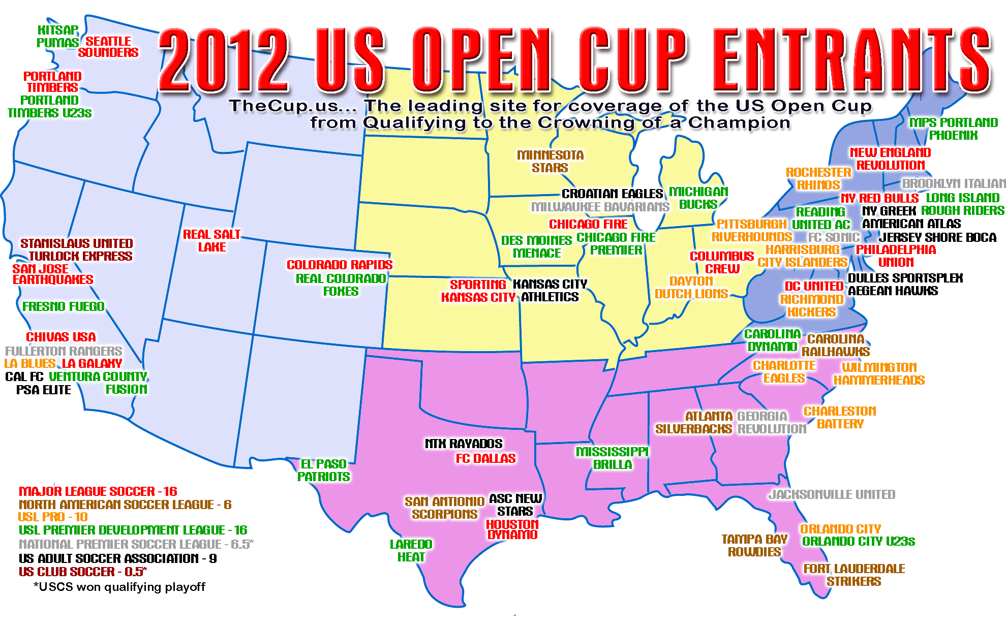 Lamar Hunt US Open Cup Results TheCupus Full Coverage Of - Us open map