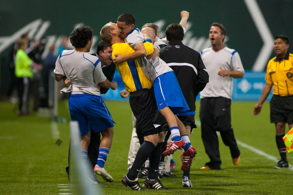 Cal FC celebrate their goal in the first period of extra time. Photo: L.M. Parr | Portland Timbers