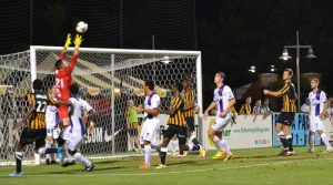 Orlando City U23s goalkeeper Tomas Gomez repeatedly held the Battery at bay, snuffing out chances in his box and recording fives saves en route to the shootout. Not only did Gomez convert his own shot from the mark, he also saved Charleston's one chance at sudden-death victory. Photo: Janet Edens Conover | CHSsoccer.net