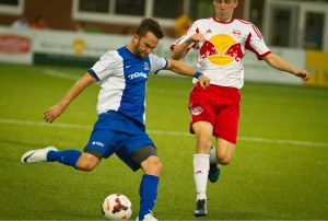 Kevin Kerr of the Pittsburgh Riverhounds scored the opening goal against the New York Red Bulls U23s in their second round US Open Cup match. Photo: Terry O'Neil   Pittsburgh Riverhounds