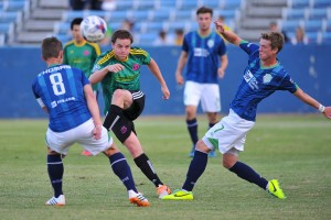 In the first all-Oklahoma Open Cup match in decades (possibly ever), expansion teams Tulsa Athletics (green) battled the Oklahoma City Energy. Photo: Tulsa Athletics