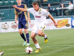 Colin Rolfe scored his first career US Open Cup goal in the 119th minute as the Rochester Rhinos defeated Reading United 2-1. Photo: James Kenneth Studio