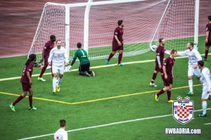 Vlad Baciu of RWB Adria celebrates his first half goal against Detroit City FC in the opening round of the 2014 US Open Cup.
