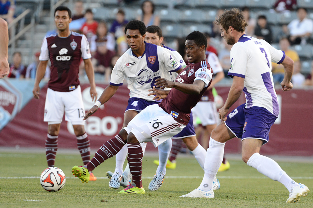 Deshorn Brown not only scored the first hat trick in Rapids Open Cup history, he also became the first Jamaican to score three goals since 1995. Photo: Garrett W. Ellwood, Colorado Rapids