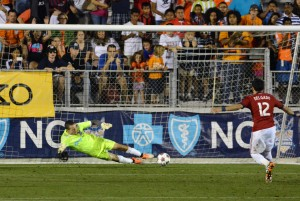 Scott Goodwin of the Carolina RailHawks makes a kick-save on Marco Delgado of Chivas USA in what would prove to be the deciding save in the PK shootout. Photo: Carolina RailHawks