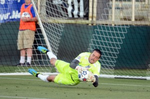 In addition to his 3 saves in the deciding penalty kick shootout, Scott Goodwin of the Carolina RailHawks made 11 saves and gave up one goal in 120 minutes against Chivas USA. Photo: Carolina RailHawks