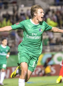 Mads Stokkelien scored two goals for the New York Cosmos in their 3-0 win over the New York Red Bulls. Photo: New York Cosmos