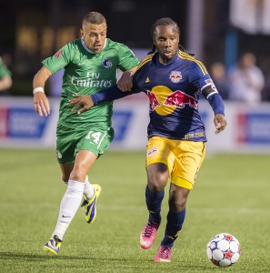For the first time, the New York Cosmos and New York Red Bulls squared off in the Lamar Hunt US Open Cup in 2014. Photo: New York Cosmos