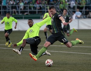 Kenny Cooper of the Seattle Sounders scored his 8th and 9th career US Open Cup goals in the Sounders' 5-0 win over PSA Elite. Photo: Seattle Sounders