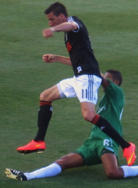 Sebastien Le Toux scored two goals against the New York Cosmos to bring his career total to 13. Photo: Kari Haffelfinger for TheCup.us