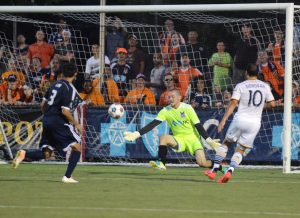 Carolina Railhawks goalkeeper Scott Goodwin saves the shot of Los Angeles Galaxy forward Landon Donovan. Photo: Carolina RailHawks