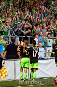 Osvaldo Alonso of Seattle Sounders celebrates his 7th career US Open Cup goal. Photo: Brandon Bleek for Prost Amerika