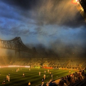 2014 US Open Cup Quarterfinals: A storm swept through PPL Park, halting play for an hour. Photo: Instagram @JayDClark