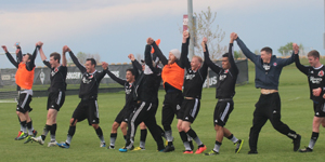 Harpo's FC celebrates their 2015 US Open Cup First Round win over KC Athletics. Photo: Richard Laeming Wheeler