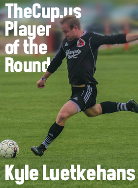Kyle Luetkehans of Harpo's FC assisted on both goals in his teams' 2-0 Preliminary Round win over the KC Athletics and was voted TheCup.us Player of the Round. Photo: Richard Laeming Wheeler wheeler@pocketsofpeace.com