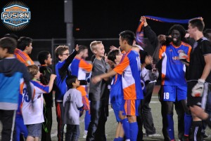 The Ventura County Fusion celebrate with their fans after defeating Cal FC in penalty kicks 6-5. Photo: Ventura County Fusion