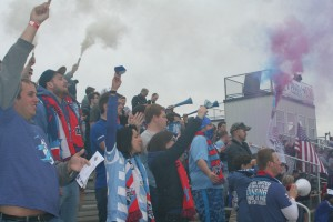 Lansing United's Sons of Ransom created a home field advantage, but Louisville City prevailed 1-0. Photo: Paul Swaney | StadiumJourney.com