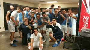 Chula Vista FC celebrates in the locker room after their 3-0 upset of Arizona United in the Second Round of the 2015 US Open Cup. Photo: Chula Vista FC