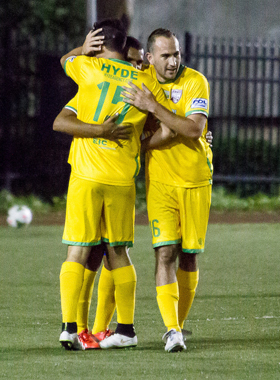 Jersey Express celebrate as they defeated New York Greek American SC 3-0 in Round 1. Photo: Bob Larson
