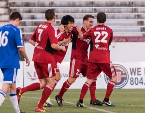 Richmond Kickers celebrate a goal against Virginia Beach City FC in the US Open Cup Second Round. Photo: James Loving | Richmond Kickers