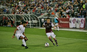 DIllon Serna scored two goals and assisted on another in the Rapids' 4-1 win over the Colorado Springs Switchbacks. Photo: John Babiak