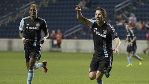 Mike Magee of the Chicago Fire celebrates one of his two goals against the Charlotte Independence. Photo: Chicago Fire