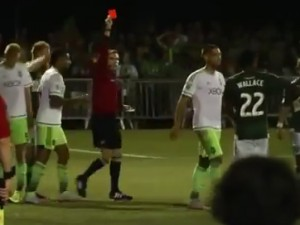 Clint Dempsey is sent off in the 112th minute after ripping up referee Daniel Radford's notebook. Photo: Video screengrab