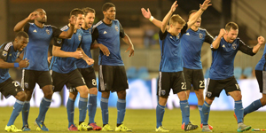 The San Jose Earthquakes celebrate their 6-5 penalty kick shootout win over the Sacramento Republic. Photo: John Todd | Isiphotos | San Jose Earthquakes