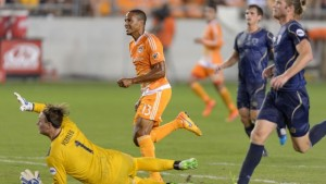 Ricardo Clark of the Houston Dynamo scores the second goal of the game in second half stoppage time in a 2-0 win over the Austin Aztex. Photo: Houston Dynamo