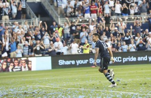 Dom Dwyer is the first Sporting Kansas City player to score a hat trick in US Open Cup play. Photo: Gary Rohman   Sporting KC