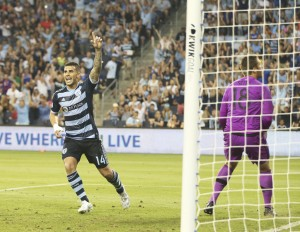 Dom Dwyer scored the first hat trick in Sporting Kansas City's Open Cup history. Photo: Gary Rohman | Sporting KC