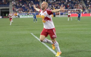 Mike Grella of New York Red Bulls celebrates his 90th minute goal against New York Cosmos. Photo: Bob Larson for TheCup.us