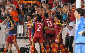 Real Salt Lake celebrate Aaron Maund's game-winning goal in the 87th minute against the LA Galaxy. Photo: Tino Arana | Prost Amerika