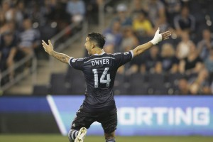 Dom Dwyer of Sporting Kansas City became the first England native to score a hat trick in the US Open Cup's Modern Era. Photo: Gary Rohman   Sporting KC