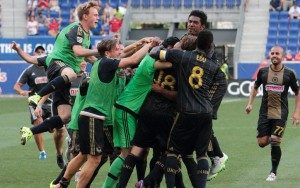 The Philadelphia Union celebrate their penalty kick shootout win over the New York Red Bulls in the 2015 Quarterfinals. Photo: Bob Larson