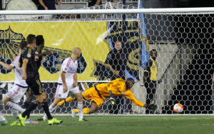 Sebastien Le Toux scores the game-winning goal for the Philadelphia Union against the Chicago Fire in the 2015 US Open Cup Semifinals. Photo: Paul Rudderow/Philly Soccer Page
