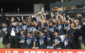 Sporting Kansas City celebrates the club's third US Open Cup title. Photo: Bob Larson