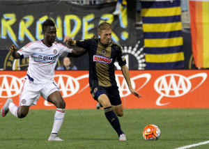 Brian Carroll of the Philadelphia Union clears the ball against the Chicago Fire in the 2015 US Open Cup Semifinals. Photo: Philadelphia Union