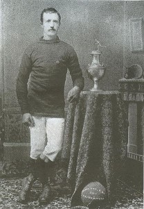 Harry Holden of Newark's Clark O.N.T. (Our New Thread) poses with the American Cup in 1885. The American Cup was the first soccer championship competed for between teams from different states, though through it's history it would be limited to teams from the Northeast.