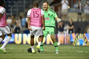 2015 US Open Cup Round 4: John McCarthy and Ethan White of Philadelphia Union celebrate after winning the penalty kick shootout over the Rochester Rhinos. Photo: Greg Carroccio | Philadelphia Union